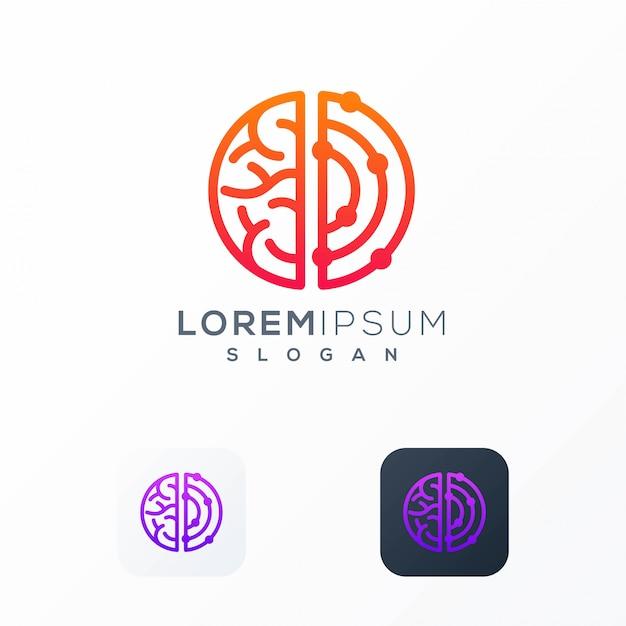 Cérebro conectar design de logotipo pronto para uso