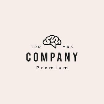 Cérebro, conversa, bate-papo, fórum, pense, ideia, inteligente, hipster, logotipo vintage, vetorial, ícone, ilustração
