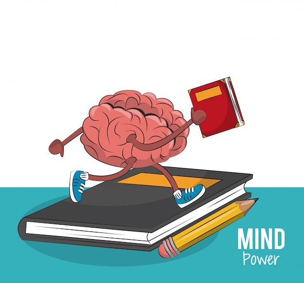 Cérebro correndo e segurando um design gráfico de ilustração vetorial de livro
