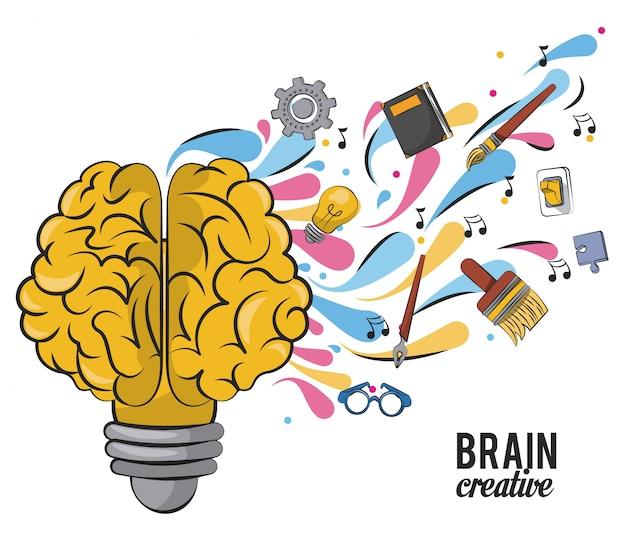 Cérebro criativo com material escolar