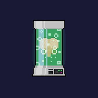 Cérebro de desenho animado pixel art com olho na caixa de vidro.