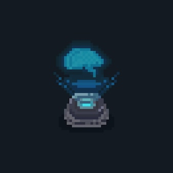 Cérebro de holograma de pixel art com projetor