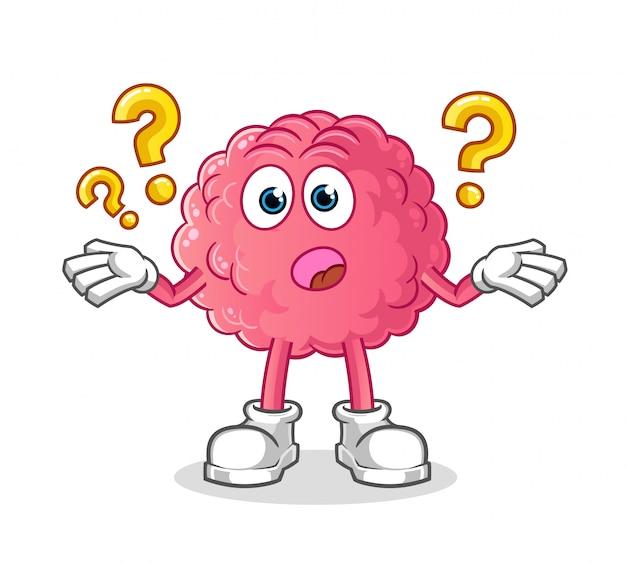Cérebro de personagem de desenho animado se perguntando algo