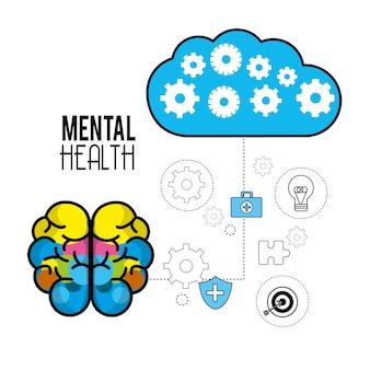 Cérebro de saúde mental com dicas de cuidados