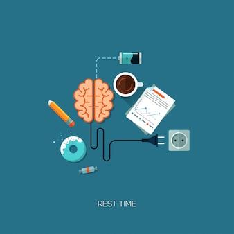 Cérebro de tempo de descanso tem um conceito criativo web plana de descanso