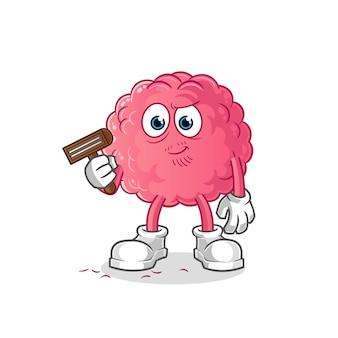 Cérebro depila os pelos faciais. personagem de desenho animado