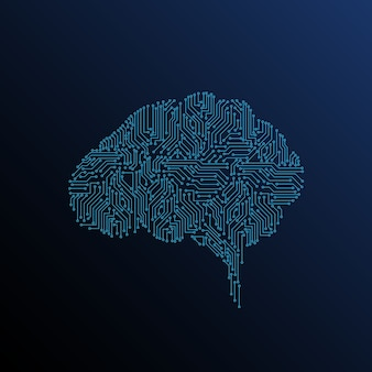 Cérebro digital com inteligência artificial em um fundo escuro