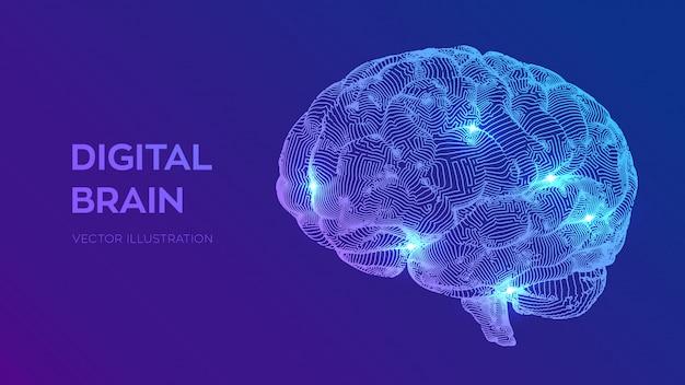 Cérebro digital. conceito de ciência e tecnologia 3d. rede neural. teste de qi, inteligência artificial