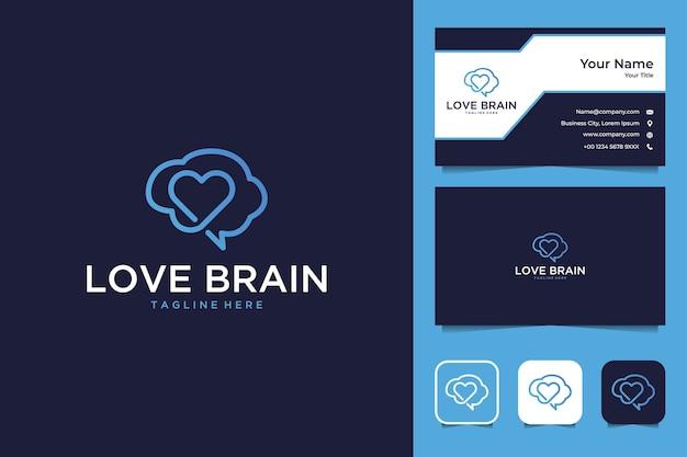 Cérebro do amor com design de logotipo de estilo de linha de arte e cartão de visita
