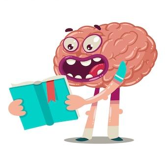 Cérebro dos desenhos animados está lendo um livro. personagem de vetor de um órgão interno isolado