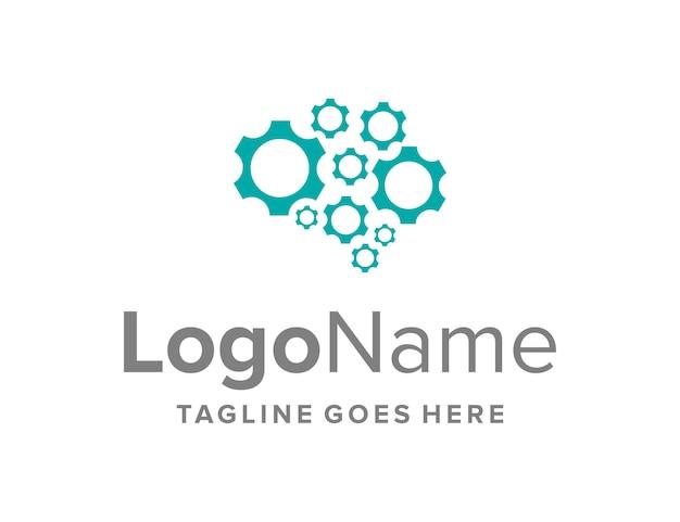 Cérebro e equipamento simples, elegante, criativo, geométrico, moderno, design de logotipo