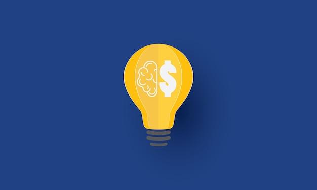 Cérebro e ícone de cifrão dentro da lâmpada ideia criativa inspiração de conceito empresarial
