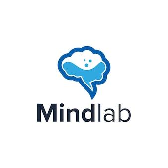 Cérebro e laboratórios simples, elegante, criativo, geométrico, moderno, design de logotipo
