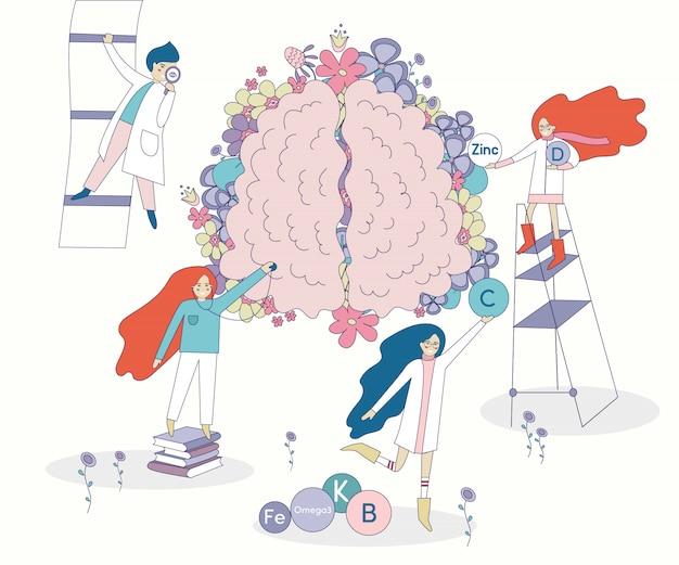 Cérebro e médicos cobertos