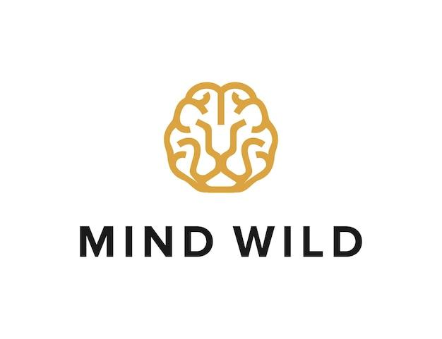 Cérebro e rosto de leão delinearem design de logotipo moderno e geométrico simples e elegante