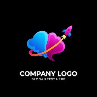 Cérebro e vetor de design de logotipo de foguete com estilo colorido 3d