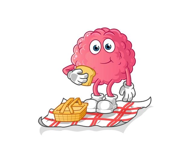 Cérebro em um desenho animado de piquenique. mascote dos desenhos animados