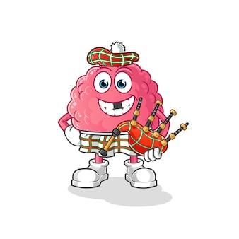 Cérebro escocês com gaitas de foles. personagem de desenho animado