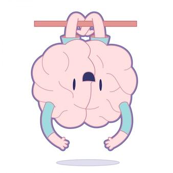 Cérebro feliz pendurado em uma vara de cabeça para baixo