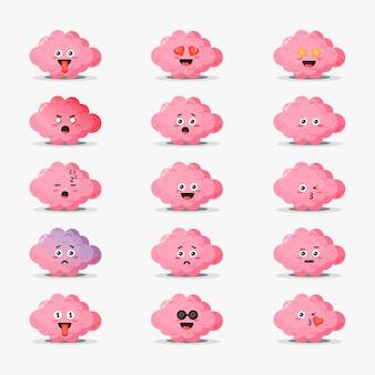 Cérebro fofo com conjunto de emoticons