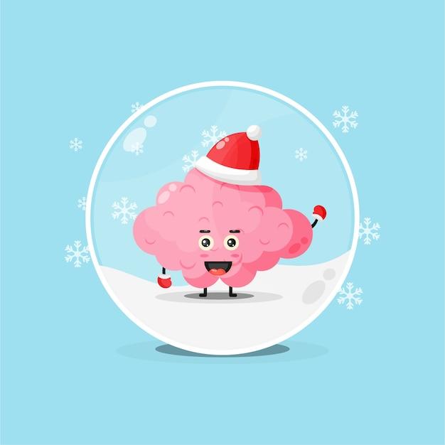 Cérebro fofo com um chapéu de natal em um globo de neve
