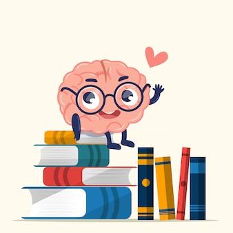 Cérebro fofo está sentado em livros que se acumulam no chão.