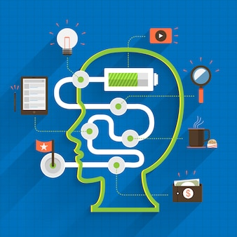 Cérebro fraco pensando em marketing digital