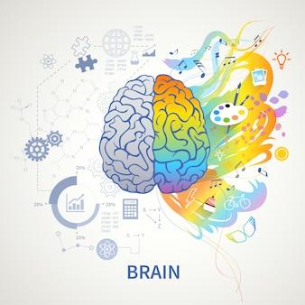 Cérebro funciona conceito infográfico representação simbólica com lado esquerdo lógica ciência matemática direita artes criatividade