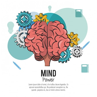Cérebro humano com engrenagens trabalhando ilustração vetorial design gráfico