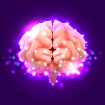 Cérebro humano com luzes em roxo