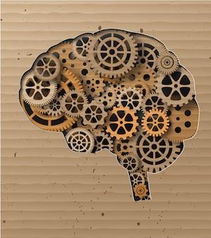 Cérebro humano construído em engrenagens e engrenagens
