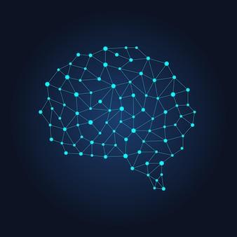 Cérebro humano digital de nós e conexões. rede neural futurista
