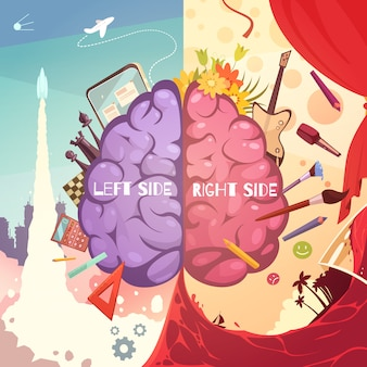 Cérebro humano esquerda e direita diferença lado aprendizagem educativa ajuda cartoon retrô simbólico cartaz impressão ilustração vetorial