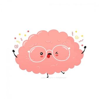 Cérebro humano louco bonito. desenho animado personagem ilustração ícone do design.
