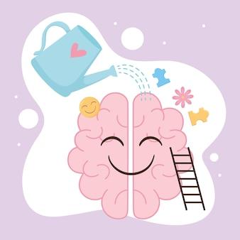 Cérebro humano que cuida da saúde mental