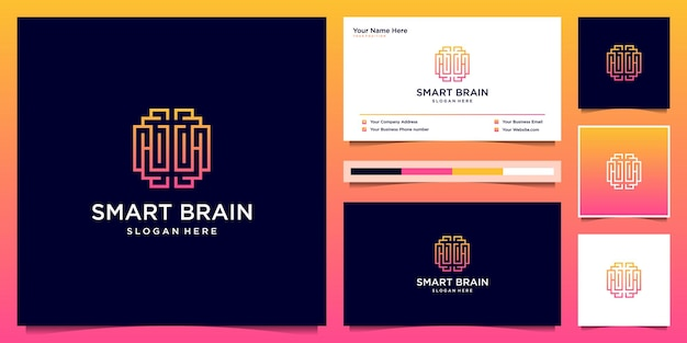 Cérebro inteligente com estilo de arte de linha. modelo de design de logotipo