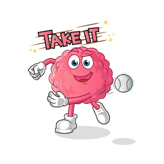 Cérebro jogando beisebol. personagem de desenho animado