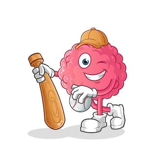 Cérebro jogando mascote de beisebol. desenho animado