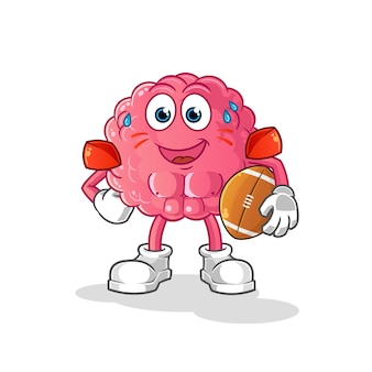 Cérebro jogando personagem de rugby. mascote dos desenhos animados