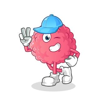 Cérebro jovem personagem isolado no branco