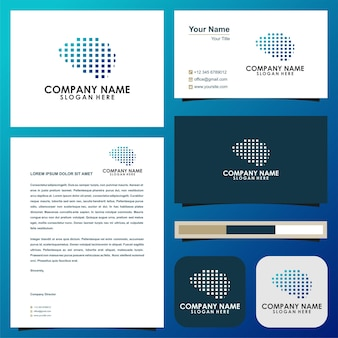 Cérebro modelo de logotipo premium cartão de visita premium