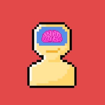 Cérebro na cabeça com estilo pixel art