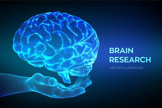Cérebro na mão. pesquisa do cérebro humano. rede neural.