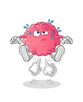 Cérebro peido pulando ilustração. vetor de personagem