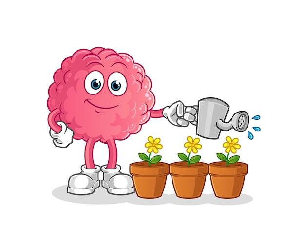Cérebro regando o mascote das flores. desenho animado