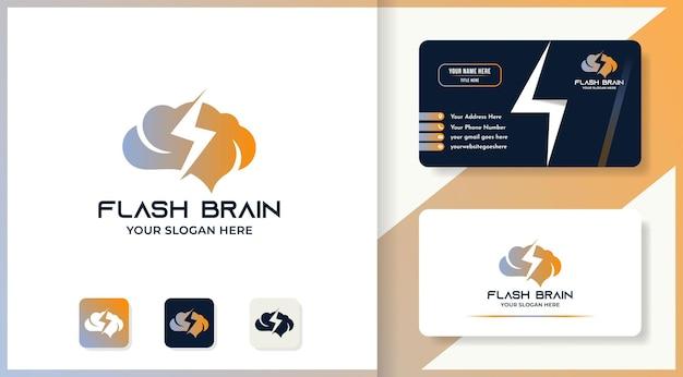 Cérebro relâmpago ou logotipo do cérebro de símbolo elétrico e design de cartão de visita