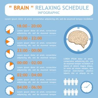 Cérebro relaxante infográfico de plano de programação