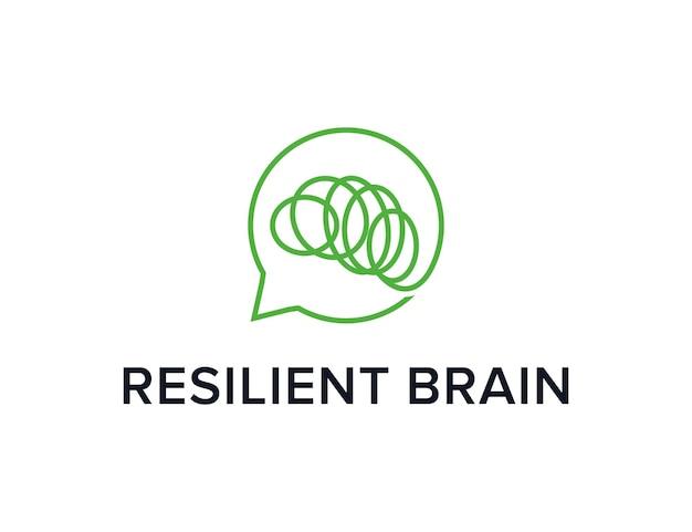 Cérebro resiliente com contorno de bolha de bate-papo simples, elegante, criativo, geométrico, moderno, logotipo, design