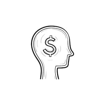 Cérebro rico no ícone de doodle de contorno desenhado de mão principal. ilustração de desenho de cabeça inteligente para impressão, web, mobile e infográficos isolados no fundo branco.
