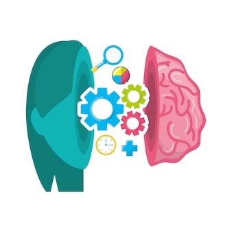 Cérebro saudável com engrenagens processam trabalho